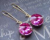 Fuchsia Glass Earrings Hot Pink Rhinestone Drop Earrings Pink Dangle Earrings Bridesmaid Earrings Wedding Jewelry TheEnchantedLocket Gift