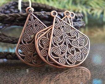 Antiqued Copper Filigree Teardrop Chandeliers 4 Earring Focal Findings