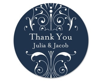 Custom Wedding Favor Stickers - Thank You Stickers - Personalized Labels - Custom Stickers - Bridal Shower Labels - Choose Your Colors