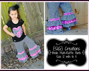 "SIG Creations Birdie Multi-Ruffle Pants/Capris Digital PDF Pattern - Size 12 month to 5t with 18"" doll pattern included!"