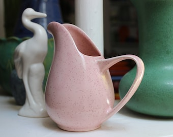 Pink Speckled Pitcher Creamer American Mid Century Modern California Pottery VINTAGE by Plantdreaming