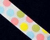 NEW ITEM----7/8 inch wide Grosgrain Ribbon---------3 Yards--------Pastel Dots---------