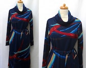 1970s Vintage Jersey Dress & Belt / Cowl Neck Abstract Cosmic Print Dress