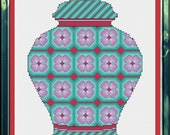 PDF Download - Lavender and Sea Green Floral Ginger Jar - An Original Cross Stitch Design, Chart, Pattern by CrossStitchCards