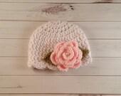 Crochet Flower hat, Newborn flower beanie, Pink Rose Hat