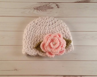 Crochet Baby Hat, Crochet flower hat, baby girl hat, childrens hat, flower hat, newborn hat, winter hat, girls flower hat
