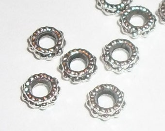 Antique silver plated pewter 6x2mm rondelle beaded spacer  beads with 2.5mm hole large hole pewter bead -- 100 pieces  (MB8946AS)