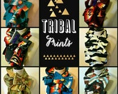 Ruffled Bow Scarf - MADE-TO-ORDER fleece - Tribal prints