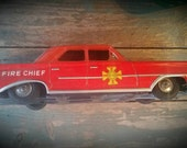 Vintage Tin Fire Chief Car