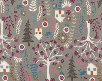 SALE - 1 yard - Forest Houses in Taupe, Timeless treasures Fabrics