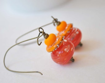 Orange Earrings, Lampwork Earrings, Glass Bead Earrings, Hollow Blown Glass Earrings, Striped Earrings