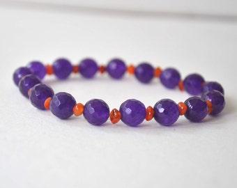 Glass & Stone Bracelet, Lampwork Glass Bracelet, Blue Bracelet, Natural Stone Bead Bracelet, Stretch Stacking Bracelet
