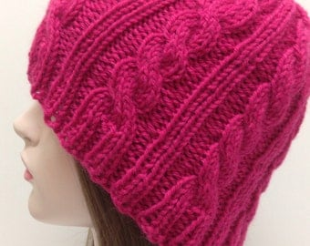 PRETTY IN PINK, Pink Cable Knit Hat, Pink Beanie