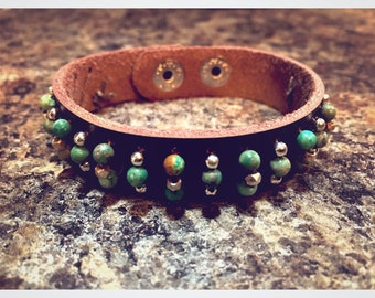 Earth & Sky -- African Turquoise, Silver and Leather Bracelet