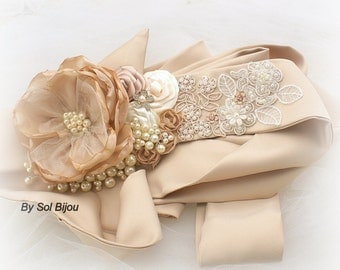 Wedding Sash, Champagne, Tan, Beige, Gold, Ivory, Vintage Style, Gatsby Style, Elegant Wedding, Bridal,Jeweled, Pearls, Crystals, Lace
