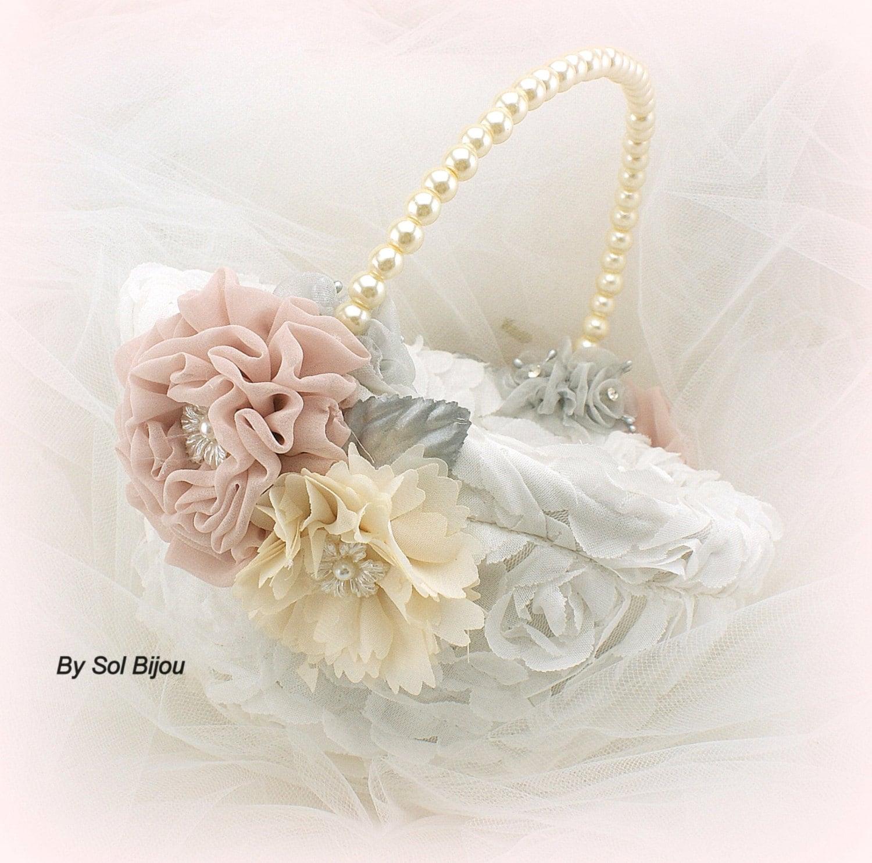 Flower Girl Basket Blush : Flower girl basket ivory cream blush gray bridal elegant
