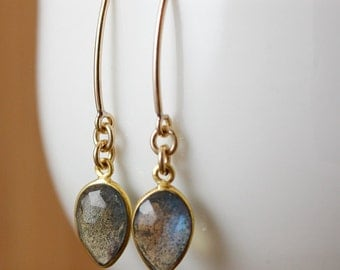 Gold Midnight Blue Labradorite Earrings - Hook Earrings - Gifts for Her