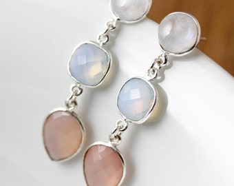 Silver Moonstone, Opalite & Pink Chalcedony Earrings - Triple Gemstone