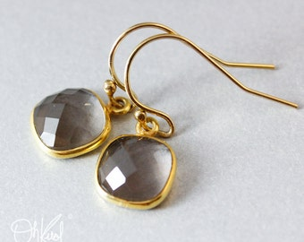 Smokey Quartz Earrings - Minimalist Gemstone Earrings - Gifts from 20