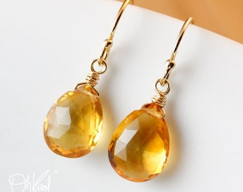 Golden Citrine Earrings - November Birthstone - 14K Gold Filled or Silver