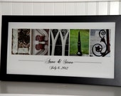 Last Name Picture- Alphabet Letter Photography- Personalized Alphabet Photo Letter Art  10x20- Color- FRAMED Name- Wedding