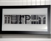 Alphabet Name Art- Alphabet Letter Photography- Personalized Alphabet Photo Letter Art 10x20- Black and White- FRAMED Name- Wedding