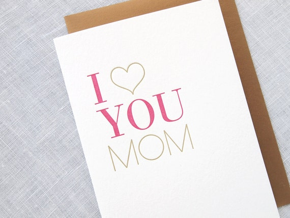Letterpress Mother's Day Card - I Heart You Mom
