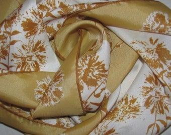 Vintage Rectangular Vera Neumann Ladybug Scarf - Gold and White Floral Pattern - Wildflowers - Flower Long Scarf