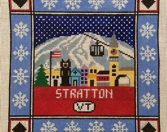 Stratton, VT. Needlepoint Pillow