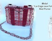 """Metal """"La Cage aux Folles"""", Red, Women Purse"""
