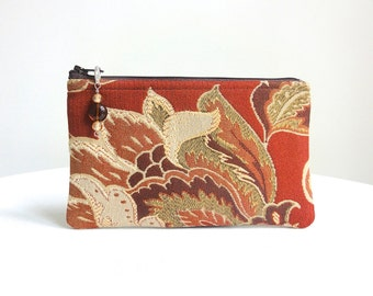 Floral & Plaid Zippered Bag in Wine, Tan and Olive with Beaded Pull - READY TO SHIP
