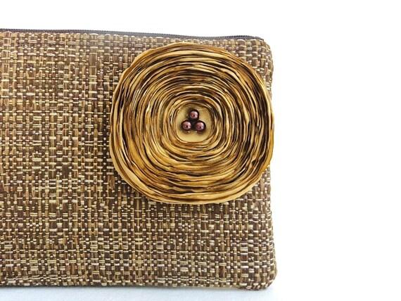 Chocolate Brown Clutch Handbag with Gold Satin Flower