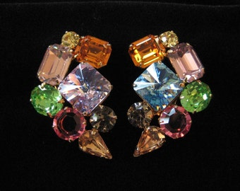 Big Glam Rhinestone Earrings with Mis Matched Stone
