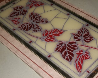 Stained Glass Butterfly and Leaves Wall Hanging with Mirror Edge