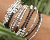 Leather Boho Wrap  Bracelet - Silver Tube Beaded Bohemian Triple Wrap w/ Chain Bracelet w/ Extension - Pick SIZE / COLOR  - Made In Usa 011