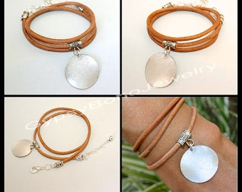 Pick SIZE / COLOR  Boho LEATHER Wrap Bracelet w/ Blank Silver Disc Coin Charm  Bohemian Bracelet Wrap w/ Antique Silver Charm Holder Usa 300