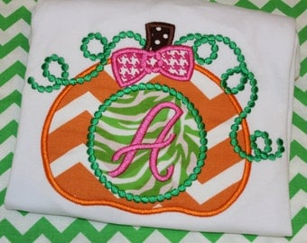 Pumpkin with initial- baby bodysuit, tshirt, or dress