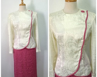 Vintage 1960s Leslie Fay Suit 2 piece Cream white Pink Floral Brocade Party Formal Women M