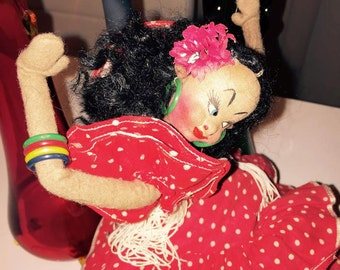 Vintage Spanish Klumpe Felted Seniorita Doll -- Retro -- 1950's