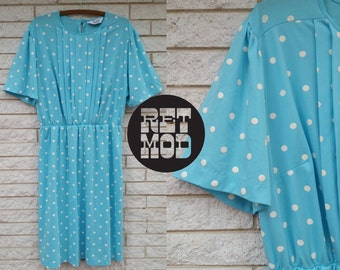 Blue Turquoise Teal and White Polkadot Day Dress - Sassy and Cute!