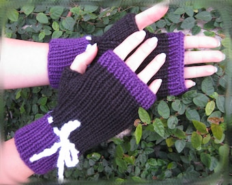 50% OFF SALE!!!  Black and Purple Knit Fingerless Gloves with White Crochet Bow