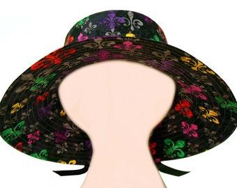 deLis Delight - Ladies Floppy hat - Bright multi-color Fleur de Lis Mardi Gras Fashion Wide Brim - Purple Green Gold on Black by Calico Caps