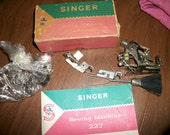 Antique Singer Sewing Machine 227 parts~ Ruffler, Binder, Seamer,booklet , needle, cardboard box and more