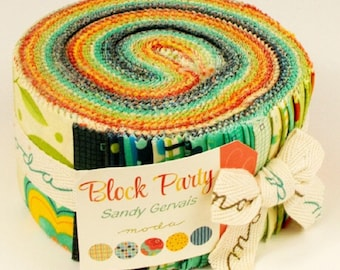 "Moda Fabric BLOCK PARTY Jelly Roll, Forty 2.5"" strips"