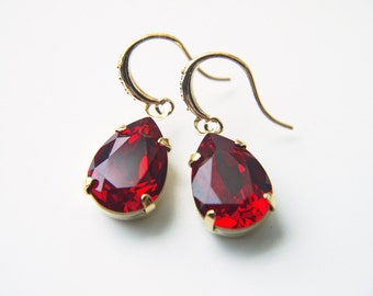 Ruby Red Swarovski Earrings Siam Crystal Teardrop Dangle Modern Wedding