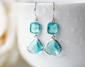 Light Blue Glass Earrings Aquamarine Blue Silver Dangle Earrings Titanium Nickel Free
