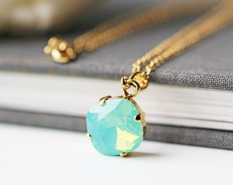 Sea Foam Green Opalescent Swarovski Necklace Crystal Pacific Opal Square Gold Pendant Necklace