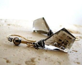 Smoky Quartz Earrings, Smoky Brown Earrings, Gold Earrings, Sterling Silver, Mixed Metals - Smoke