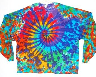 Psychedelic Tie Dye Shirt Rainbow Spiral Blotter Tye Dye long sleeve Adult T-Shirt 2x 3x 4x Grateful Dead hippie art L/S handmade art