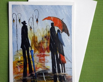In Rain II - Hand Painted Abstract Greeting Card